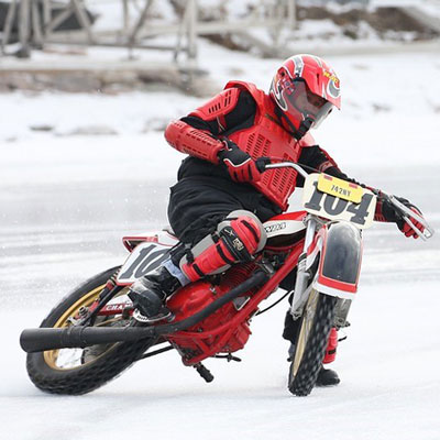 Phil racing a motorcycle on ice